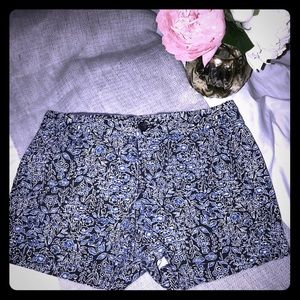 "BR Beautiful floral in blues 2"" inseam size 2P EUC"